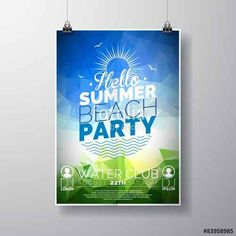 Vektor: Vector Party Flyer poster template on Summer Beach theme