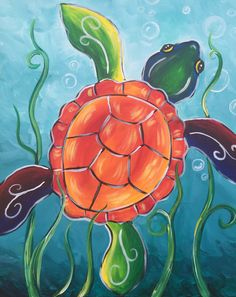 Psychedelic Sea Turtle beginner painting idea. So cute! Love the seaweed swirls and bubbles.