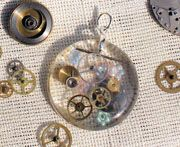 Clock pieces resin pendant
