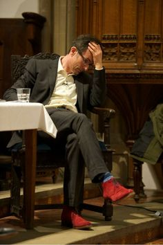 Robert Peston's red suede shoes.