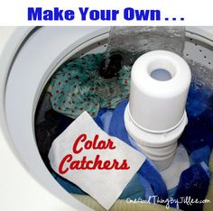 Arm washing soda in hot water. Put pieces of white fabric in and air dry --use like color catchers.Make your own laundry color catchers! So SIMPLE! Homemade Cleaning Products, Cleaning Recipes, Natural Cleaning Products, Cleaning Hacks, Household Products, Household Tips, Cleaning Supplies, Cleaners Homemade, Diy Cleaners