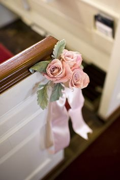 Blush Pink Pew Decor #Blush Wedding ... Wedding ideas for brides & bridesmaids, grooms & groomsmen, parents & planners ... https://itunes.apple.com/us/app/the-gold-wedding-planner/id498112599?ls=1=8 … plus how to organise an entire wedding, without overspending ♥ The Gold Wedding Planner iPhone App ♥
