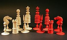 Ivory hand carved antique chess set game pieces and box