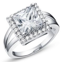 Hot Elegant Exquisite 18K platinum Plated Finger Ring Clear Cubic Zircon Jewelry Rings for Women Wedding