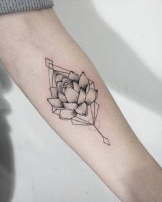 Lotus Flower Tattoo on Forearm by Dasha Sumkina
