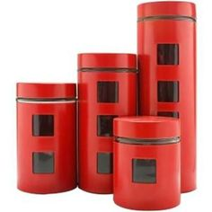 Ragalta Pl 4pc Canister Set W/glass Rd RCA-054R https://foxgatemarketing.com/product/ragalta-pl-4pc-canister-set-wglass-rd-rca-054r/ This beautiful glass and Red Stainless Steel 4-piece Canister Set will keep your kitchen ingredients dry and fresh with their airtight lids! Viewable glass windows allow you to view the contents without having to open the canister lid. Includes a 16-ounce 32-ounce 48-ounce and 64-ounce canister. Stylish design and dishwasher-safe.