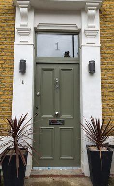 Victorian front door in cement grey with fan light Purple Front Doors, Double Front Entry Doors, Modern Front Door, Wooden Front Doors, Exterior Front Doors, House Front Door, Painted Front Doors, Front Door Design, Front Door Colors