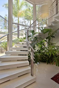 Awesome Stairs Design Home. Now we talk about stairs design ideas for home. In a basic sense, there are stairs to connect the floors Home Stairs Design, Railing Design, Interior Stairs, Dream Home Design, Modern House Design, Interior Architecture, Stair Design, Luxury Staircase, Staircase Ideas