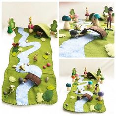 Spring In Fairyland Playscape Play Mat – wool felt pretend play storytelling Fairy Fairies Woodland landscape River Stream bridge cave - Modern Felt Diy, Felt Crafts, Fabric Crafts, Diy And Crafts, Crafts For Kids, Peg Doll, Felt Play Mat, Play Mats, Sewing Projects