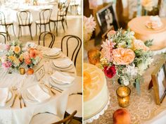 Peach Wedding Centerpieces    Malibu Hilltop Wedding   Josh Elliott Photography   Sugar Branch Events