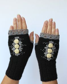 Hand Knitted Fingerless Gloves, Gift Ideas, For Her, Fashion Accessories, Winter Accessories, Gloves & Mittens, Ribbon Embroidery,Rose,Black