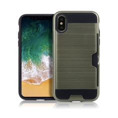 Wire drawing Card Slot Shockproof Case Fit for iPhone X (Gray) Apple Iphone, Iphone 8, Iphone Cases, Pinup Art, Wire Drawing, Metal Texture, Pc Cases, Iphone Wallet Case, Hacks