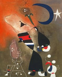 Women and Bird in the Moonlight by Joan Miró, 1949