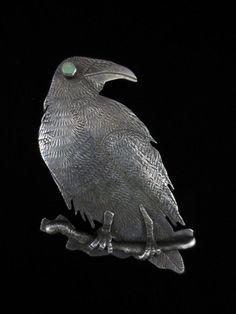 Vintage Navajo Silver and Turquoise Raven Manta Pin