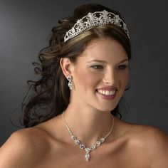 Regal Crystal Wedding Tiara and Matching Bridal Jewelry Set - Affordable Elegance Bridal -