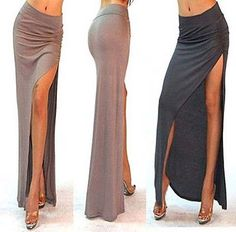 0f21eaa2d46 A3 Sexy Minimalist Thigh High Slit Ruched Fitted Split Long Maxi Skirt SML