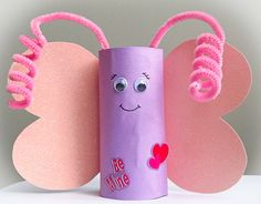 Valentine Butterfly art Craft Kit, Kids, Toddler, Children, Party, recycled, candy container, mess free