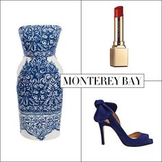 J.Crew strapless dress, $298, jcrew.com; Clarins Rouge Prodige lipstick, $25, lordandtaylor.com; Carven heel, $595, farfetch.com.   - HarpersBAZAAR.com