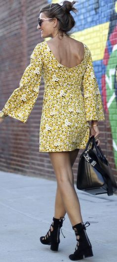 Bartabac Yellow Floral Little Dress Fall Street Style Inspo