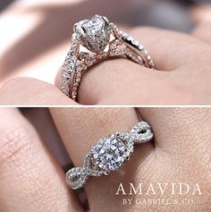 Gabriel & Co.-Voted #1 Most Preferred Fine Jewelry and Bridal Brand. Meet Graciela -  An 18k White/Rose Gold Round Twisted Engagement Ring. Woven band of twisted diamond strands creates the ideal backdrop for your round cut center stone.