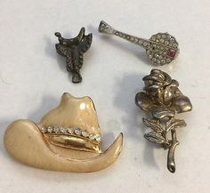Vintage Brooch Lot Rhinestones Cowboy Hat Saddle Rose Banjo Pin Jewelry