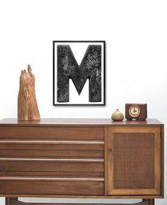 Letter M print in Industrial distressed Black by CapricornPress Large Prints, Fine Art Prints, Typography Prints, Lettering, Framed Art, Framed Prints, Black M, Alphabet Art, Antique Metal