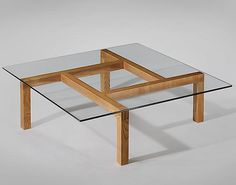 Pierre Guariche; Unique Ash and Glass Coffee Table for His Apartment, 1960.