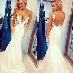 V-Neck Beading Charming Prom Dresses,The Backless Floor-Length Evening Dresses, Prom Dresses, Real Made Prom Dresses On Sale,
