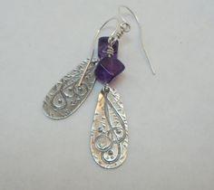 Amethyst & Sterling Silver Dangle Earrings by EllaAndTess on Etsy, $39.00
