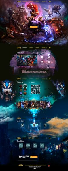 This is an example for an random theme web design. I chose League of Legends, an online pc game that I play when i have free time.All the illustration were made by (link at the project) Website Design Inspiration, Blog Website Design, Website Layout, Web Layout, Website Ideas, Online Game Websites, Wireframe Web, Leaflet Layout, Pag Web