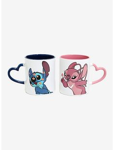 Disney Lilo & Stitch Heart Mug Set Love is in the air for Experiments 626 and This mug set includes one of Stitch with glittery kisses and a blue heart-shaped handle and one of Angel blowing a glittery heart and a pink heart-shaped handle. Angel Lilo And Stitch, Lilo Ve Stitch, Lilo And Stitch Quotes, Lelo And Stitch, Disney Stitch, Spirited Away Soot Sprites, Images Disney, Disney Cups, Cute Stitch