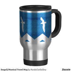 Nautical Travel Mug  #Seagulls  #TravelMug  #Beachy #blue #white, #SeagullMug #Beach  #Ocean