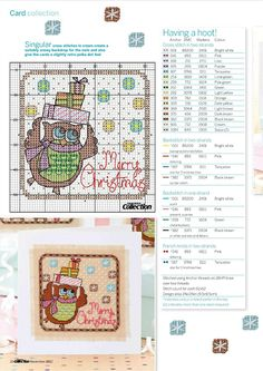 cross stitch owl merry Christmas with present