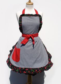 Ready To SHIP Squares & Cherries Deluxe Full Apron