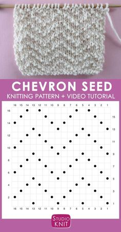How to Knit the Chevron Seed Stitch Pattern with Studio Knit - Strickmuster - How to Knit the Chevron Seed Stitch Pattern with Studio Knit Chevron Seed Knit Stitch Pattern Chart with Video Tutorial by Studio Knit Knitting Stiches, Knitting Charts, Easy Knitting, Knitting For Beginners, Loom Knitting, Knitting Patterns Free, Crochet Stitches, Stitch Patterns, Start Knitting