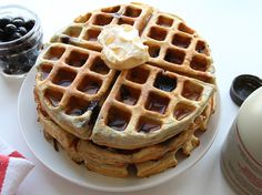 Support your fitness goals and your taste buds with these delicious Blueberry Protein Waffles,  packed with 25g of protein per waffle! Check out the full recipe on our site: http://bit.ly/1Yz8lJy