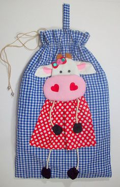Cute cow Bread bag / Fabric bag / Blue bread by CerryWorkshop Cat Applique, Applique Quilts, Embroidery Applique, Plastic Bag Storage, Plastic Bag Holders, Recycled Plastic Bags, Peg Bag, Cow Pattern, Cute Cows
