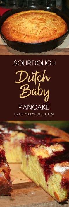 """Sourdough Dutch Baby Pancakes are great for a """"quick-and-easy"""" weekday meal and the perfect way to use up excess sourdough starter so it doesn't go to waste. Baby Pancakes, Breakfast Pancakes, Pancakes And Waffles, Breakfast Recipes, Pancake Recipes, Cast Iron Pancake Recipe, Baby Breakfast, Sourdough Pancakes, Sourdough Recipes"""