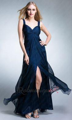 Col en Coeur Robe de Soiree Longue Fendue RUC042 #robe #longue #bleue #robeunique