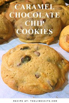 Cookie lovers will adore these soft and delicious Caramel Chocolate Chip Cookies. They are simply irresistible when fresh from the oven and still warm! thelinkssite.com #cookies #cookie Baking Recipes, Cookie Recipes, Snack Recipes, Dessert Recipes, Dinner Recipes, Salad Recipes, Keto Recipes, Easy Desserts, Delicious Desserts