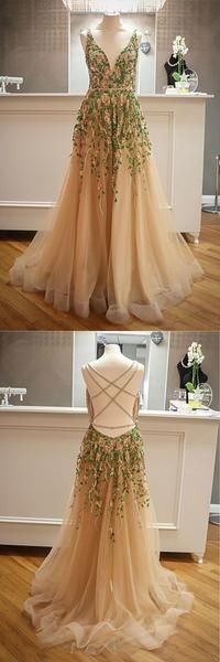 Gorgeous Customized Unique Champagne Tulle Open Back Beaded Women Evening Dress, Formal Prom · Dressmelody · Online Store Powered by Storenvy Best Formal Dresses, Formal Prom, Dress Formal, Popular Dresses, Classy Evening Gowns, Women's Evening Dresses, Criss Cross, Tulle Ball Gown, Tulle Prom Dress