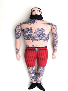 Big tattoo man with Forelock. $275.00, via Etsy.