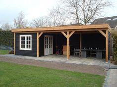 Douglas Tuinhuizen op maat - La Tonnelle - Douglas tuinhuis met veranda platdak