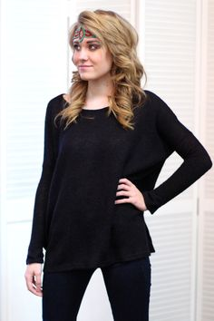 Knit Piko Sweater Top {Black}