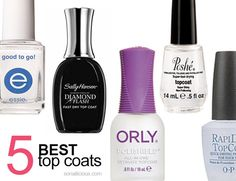 The 5 best top coats: tried & loved. The best top coats for fast drying, long lasting & high shine manicures. Essie Good To Go, OPI Rapidry, Poshe..