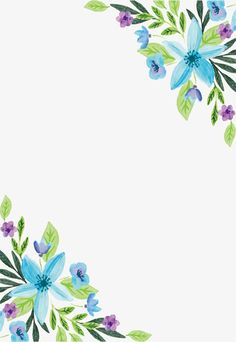 Water color blue flower border PNG and Vector Cute Wallpaper Backgrounds, Flower Backgrounds, Cute Wallpapers, Flower Border Png, Floral Border, Watercolor Plants, Watercolor Paintings, Flower Frame, Flower Art