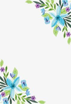 Frontera de agua color azul de la flor, Vector PNG, Acuarela De Plantas, Watercolor Flowers PNG y Vector