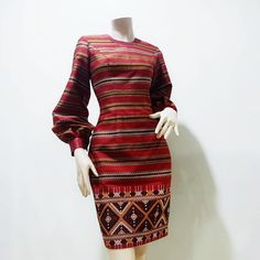 Contact line : Traditional Thai Clothing, Myanmar Traditional Dress, Traditional Outfits, Batik Dress, Silk Dress, Dress Batik Kombinasi, Lovely Dresses, Dresses For Work, Modern Filipiniana Dress