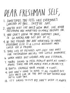 Dear Freshman Self - The Little Duckwife High School Quotes, High School Hacks, Life Hacks For School, School Study Tips, School Life, Freshman Advice, Freshman Year, Freshman Quotes, First Year Of College