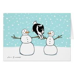 Border Collie with Snowmen Holiday Card